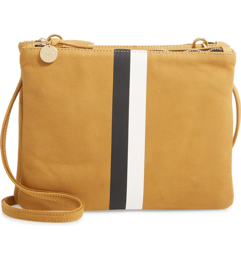 CLARE V. Bretelle Double Sac Crossbody Bag, Main, color, CUOIO VACHETTA