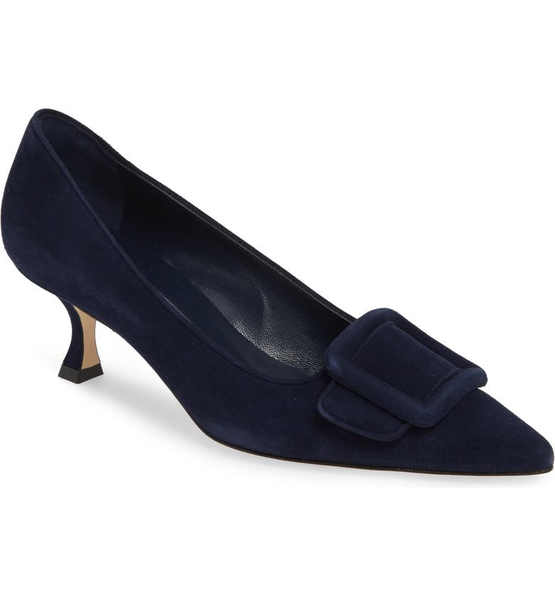 MANOLO BLAHNIK Maysale Buckle Pump, Main, color, NAVY SUEDE