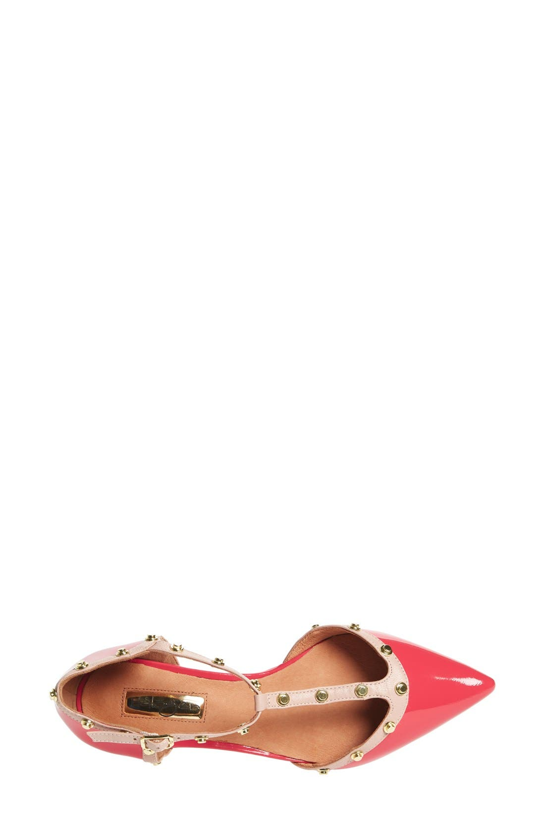 ,                             'Olson' Pointy Toe Studded T-Strap Flat,                             Alternate thumbnail 101, color,                             951