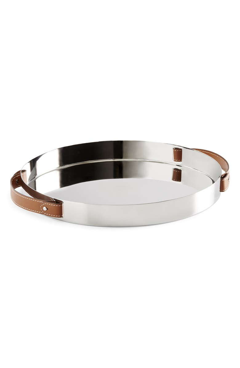 RALPH LAUREN Wyatt Round Tray, Main, color, SADDLE/ SILVER