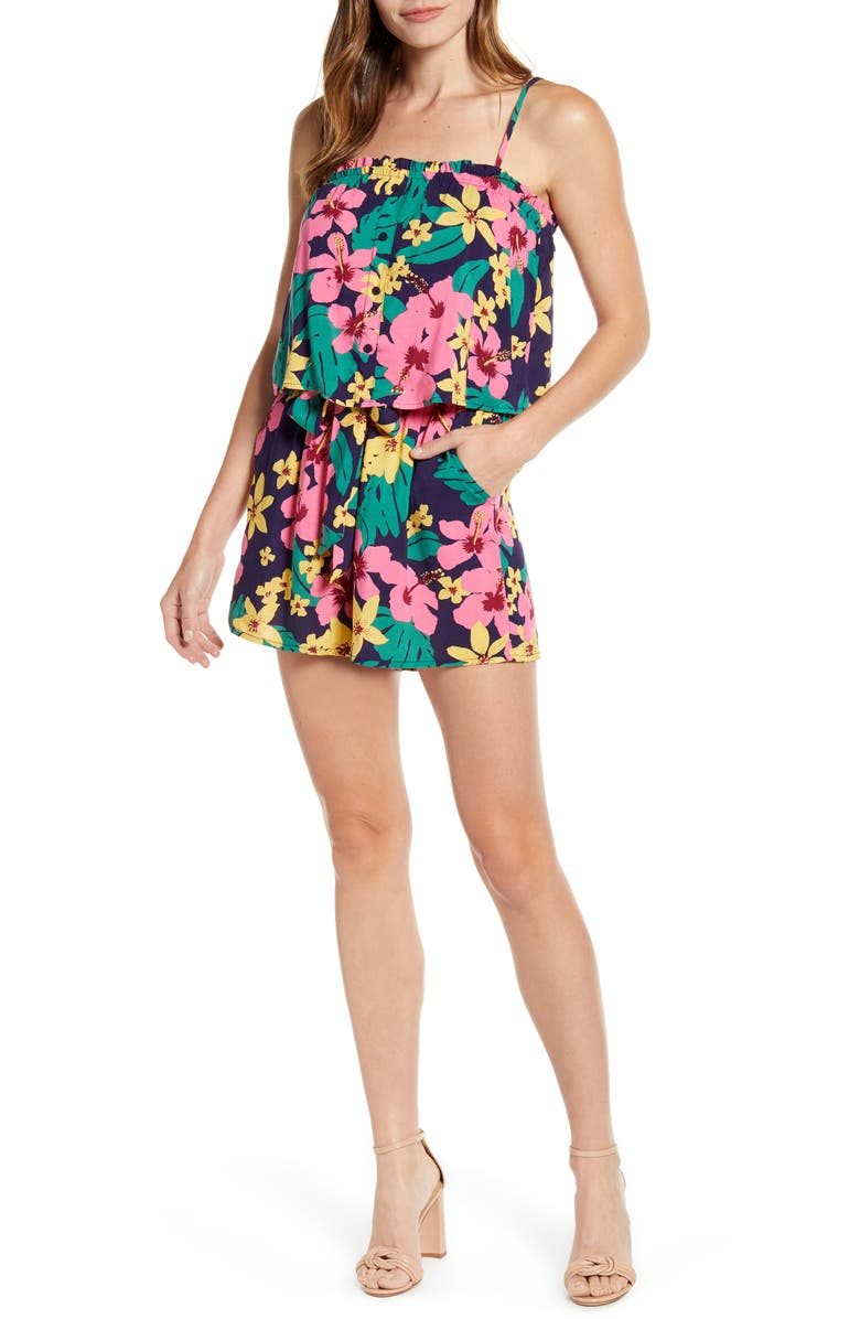GIBSON x Hot Summer Nights Two Peas Layered Camisole Romper, Main, color, HIBISCUS JUNGLE
