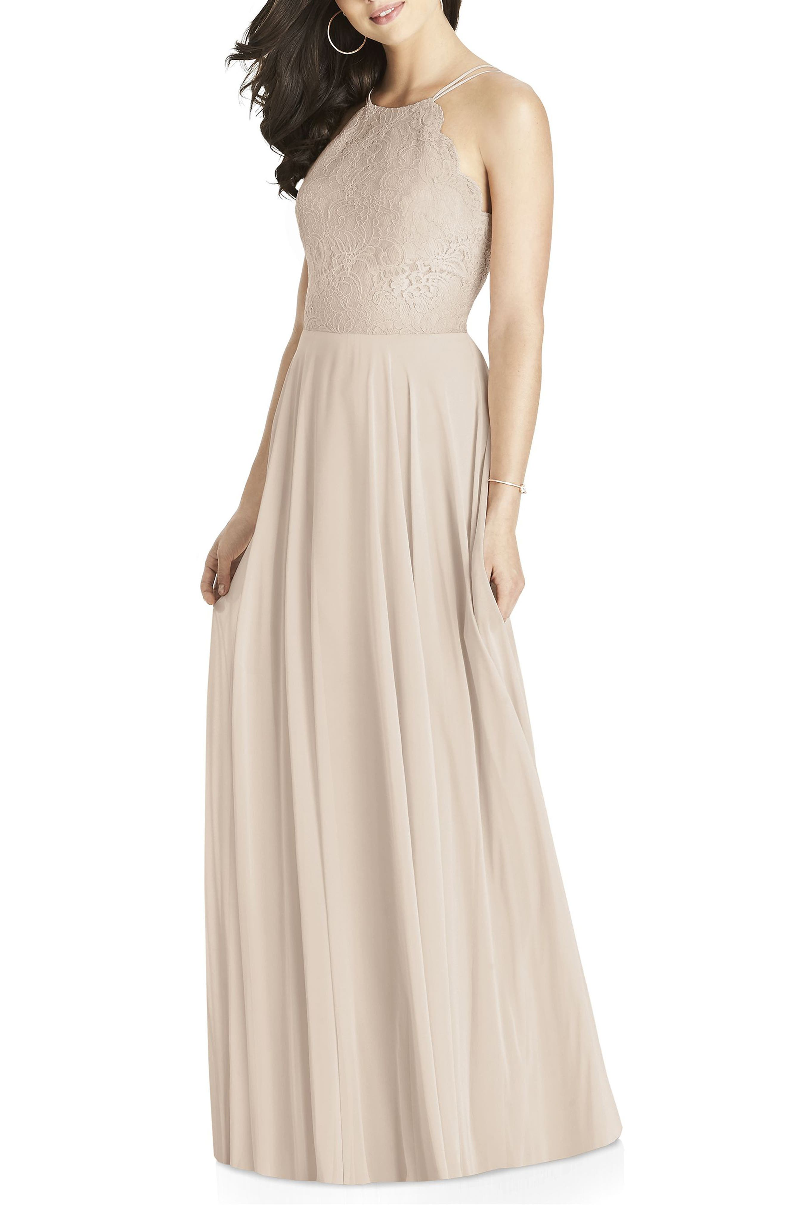 Dessy Collection Lace & Chiffon Halter Gown, Beige