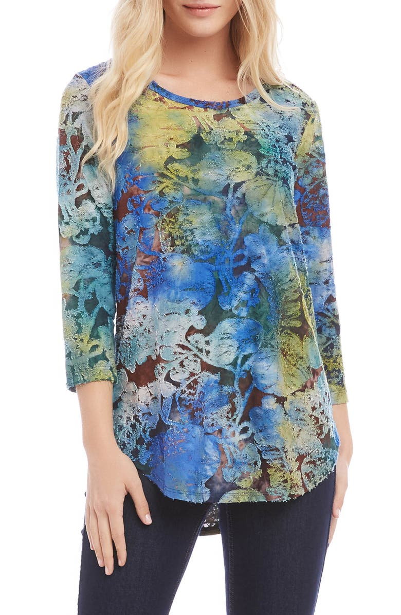 KAREN KANE Tie Dye Burnout Shirttail Tee, Main, color, TIE DYE BLUE