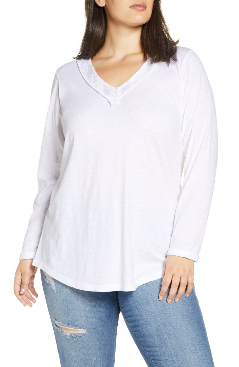 CASLON<SUP>®</SUP> Embroidered Trim Tee, Main, color, WHITE