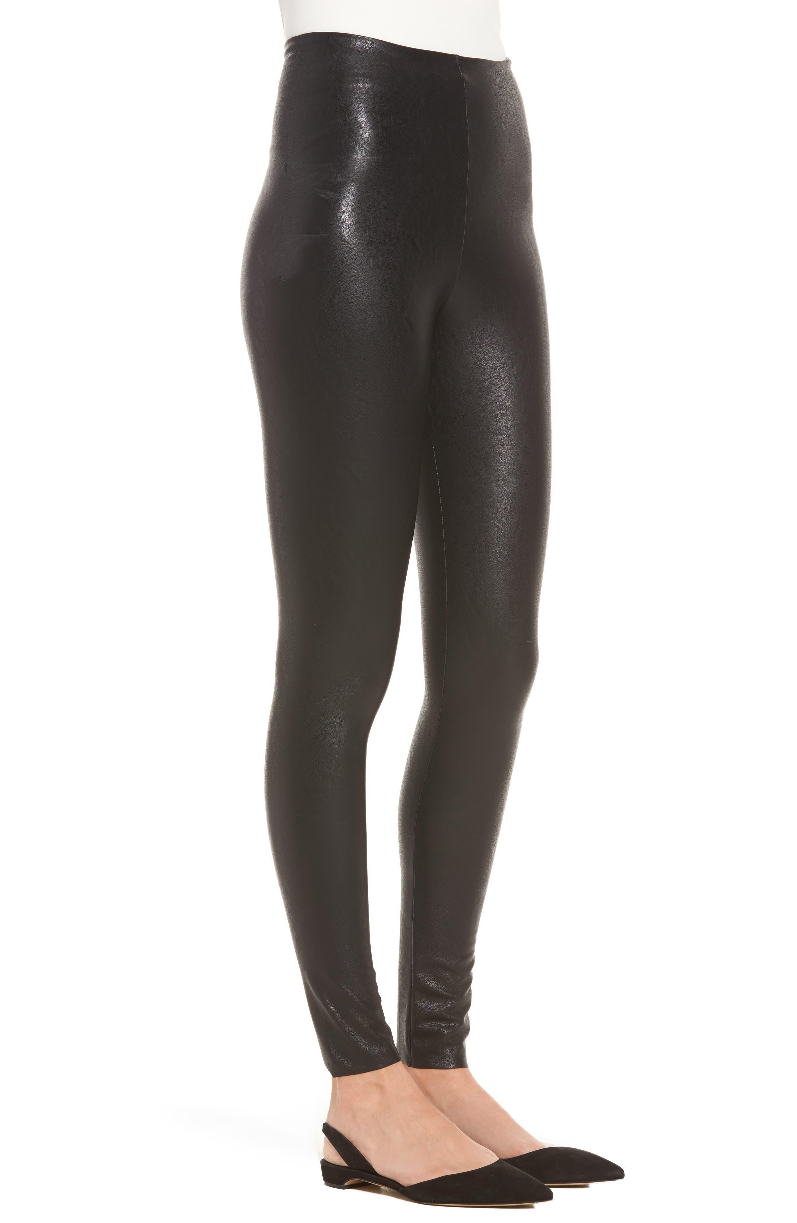 ,                             Perfect Control Faux Leather Leggings,                             Alternate thumbnail 4, color,                             BLACK