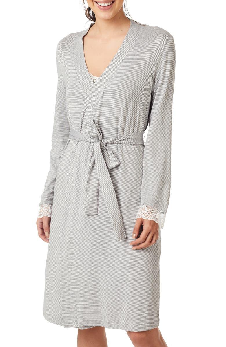 THE WHITE COMPANY Jersey Stripe Lace Trim Robe, Main, color, GREY MARL/ WHITE