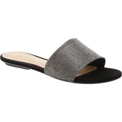Schutz Queren Embellished Slide Sandal- Black