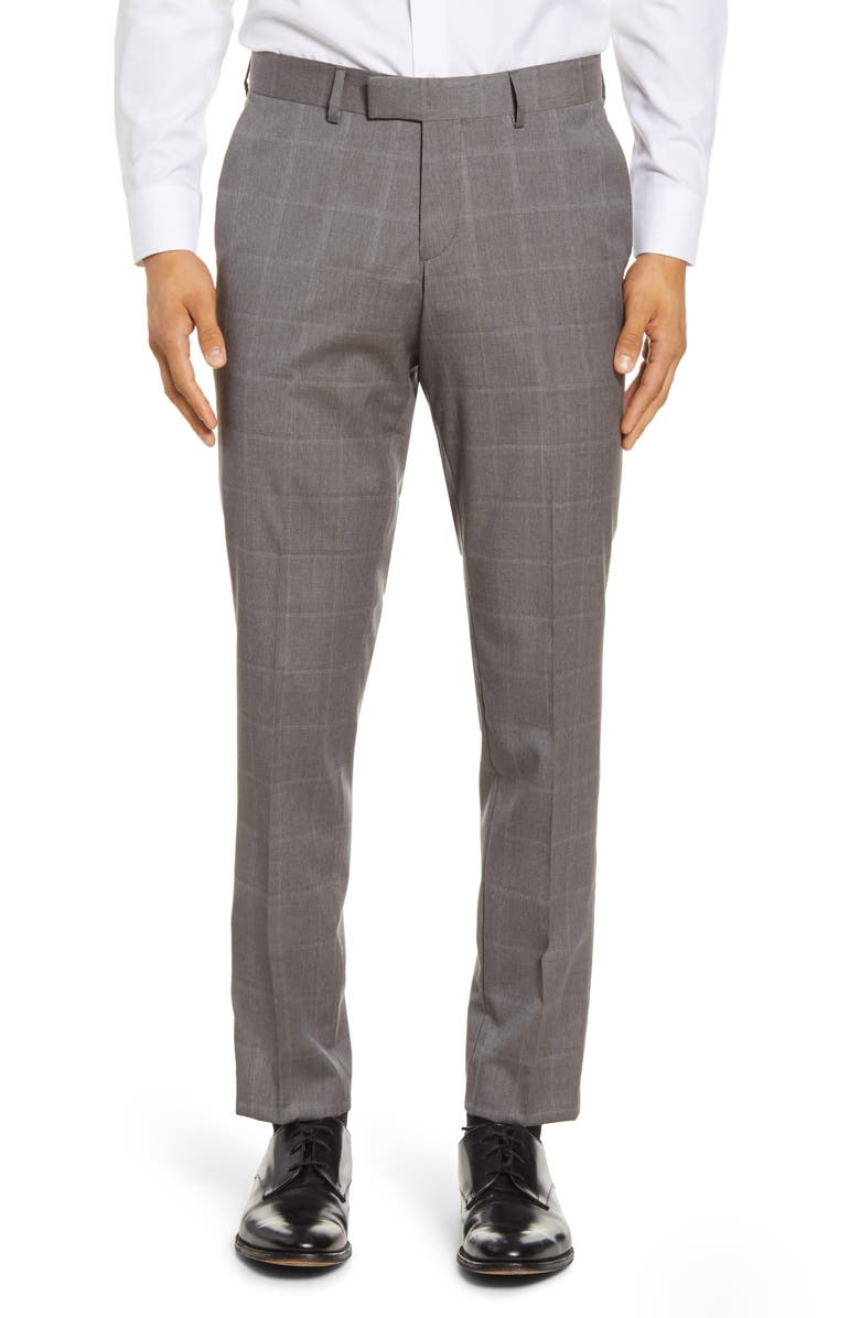 TIGER OF SWEDEN Flat Front Windowpane Wool Trousers, Main, color, GREY
