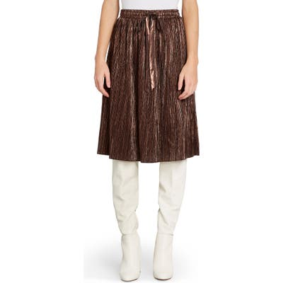 Plus Size Modcloth Pleated Metallic Skirt, Brown