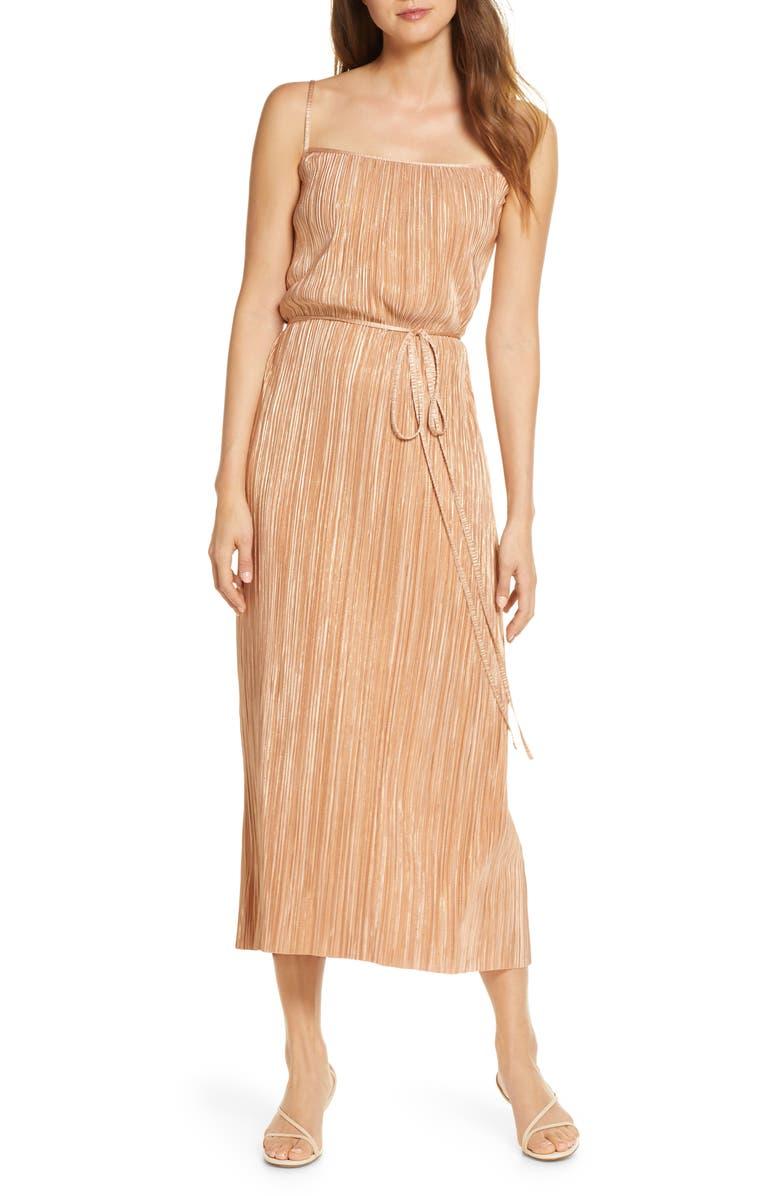 FOREST LILY Metallic Plissé Dress, Main, color, NUDE