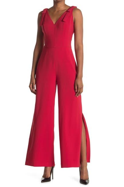 Image of Maggy London Bow Shoulder V-Neck Sleeveless Jumpsuit
