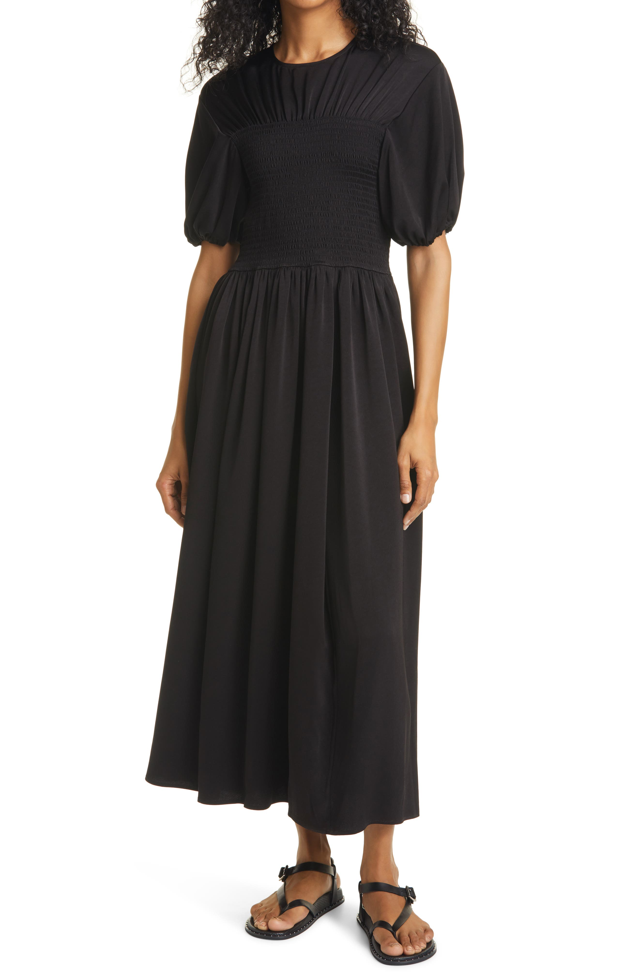 Smocked Bodice Puff Sleeve Maxi Dress