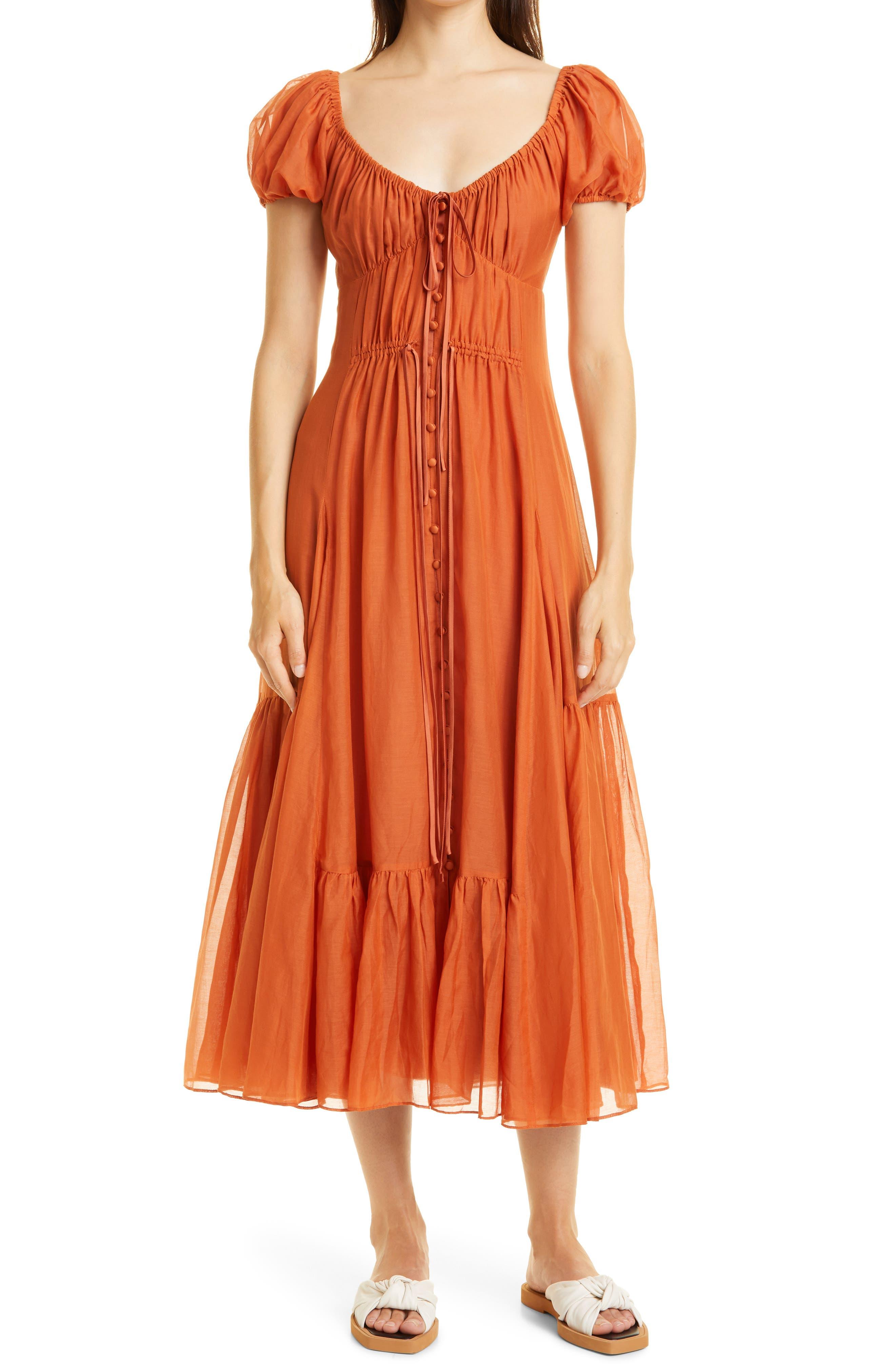 Puff Sleeve Tiered Ruffle Cotton & Silk Dress