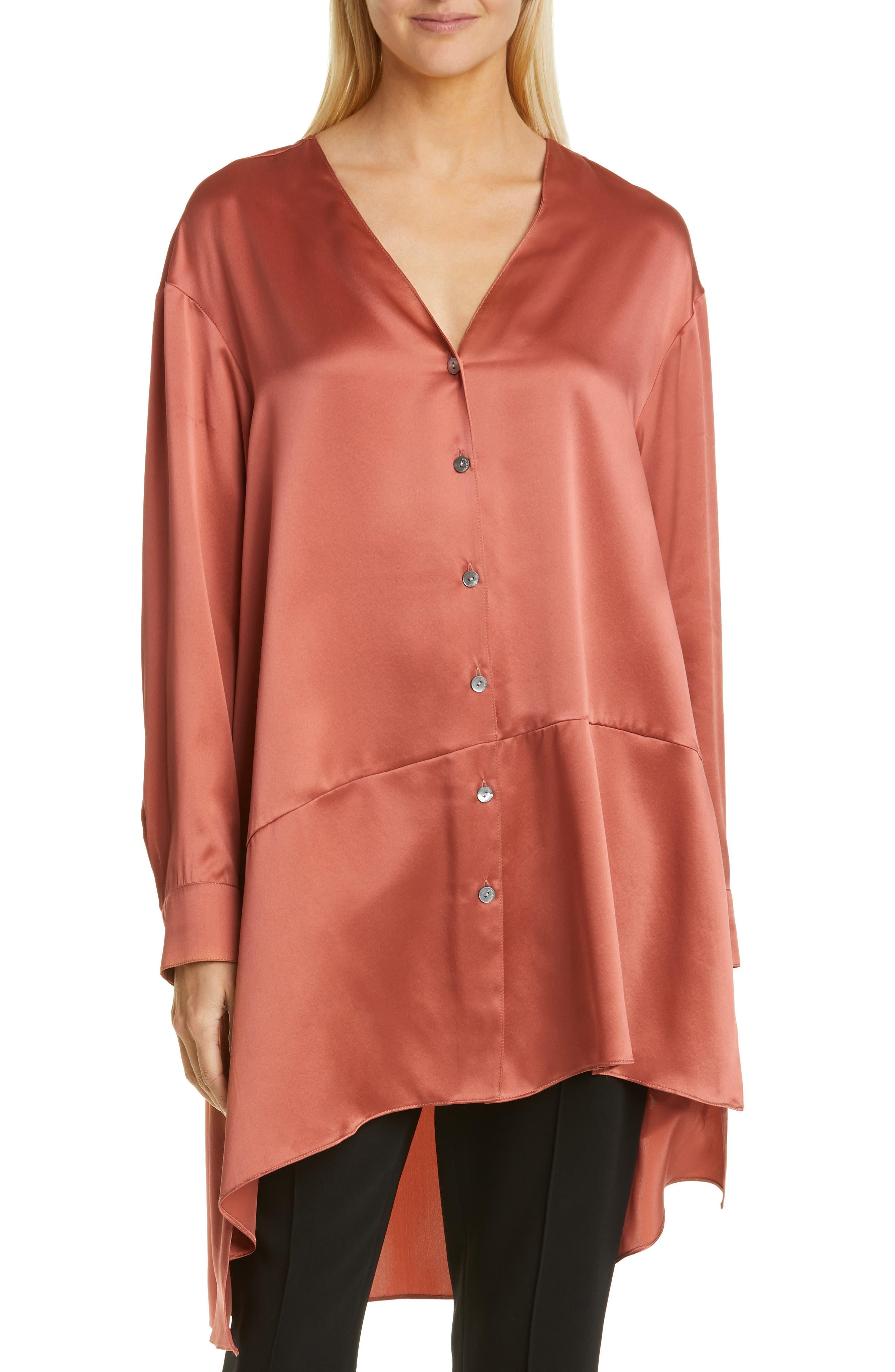 Image of Cinq a Sept Opal High/Low Silk Shirt