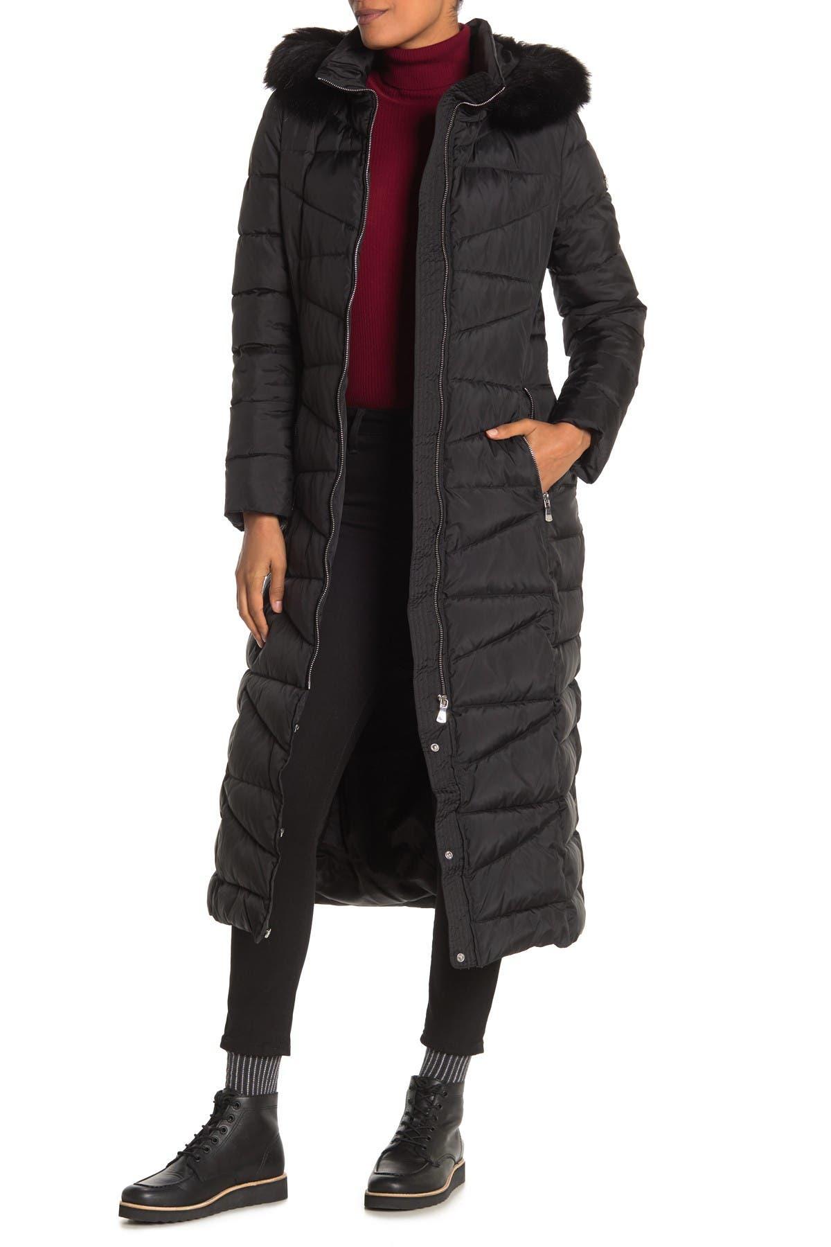Image of Calvin Klein Long Faux Fur Hooded Jacket