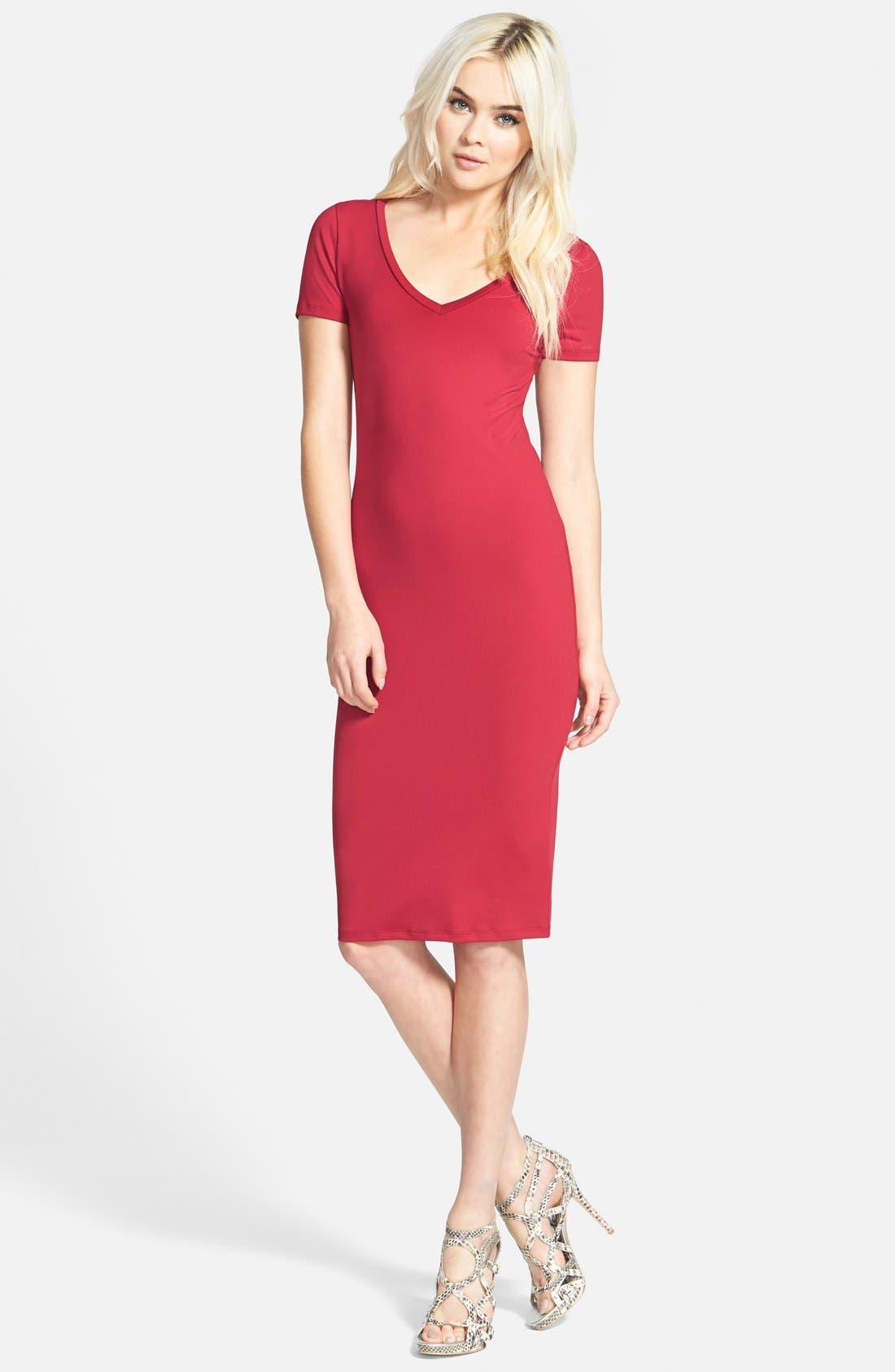 ,                             V-Neck Body-Con Dress,                             Main thumbnail 23, color,                             600