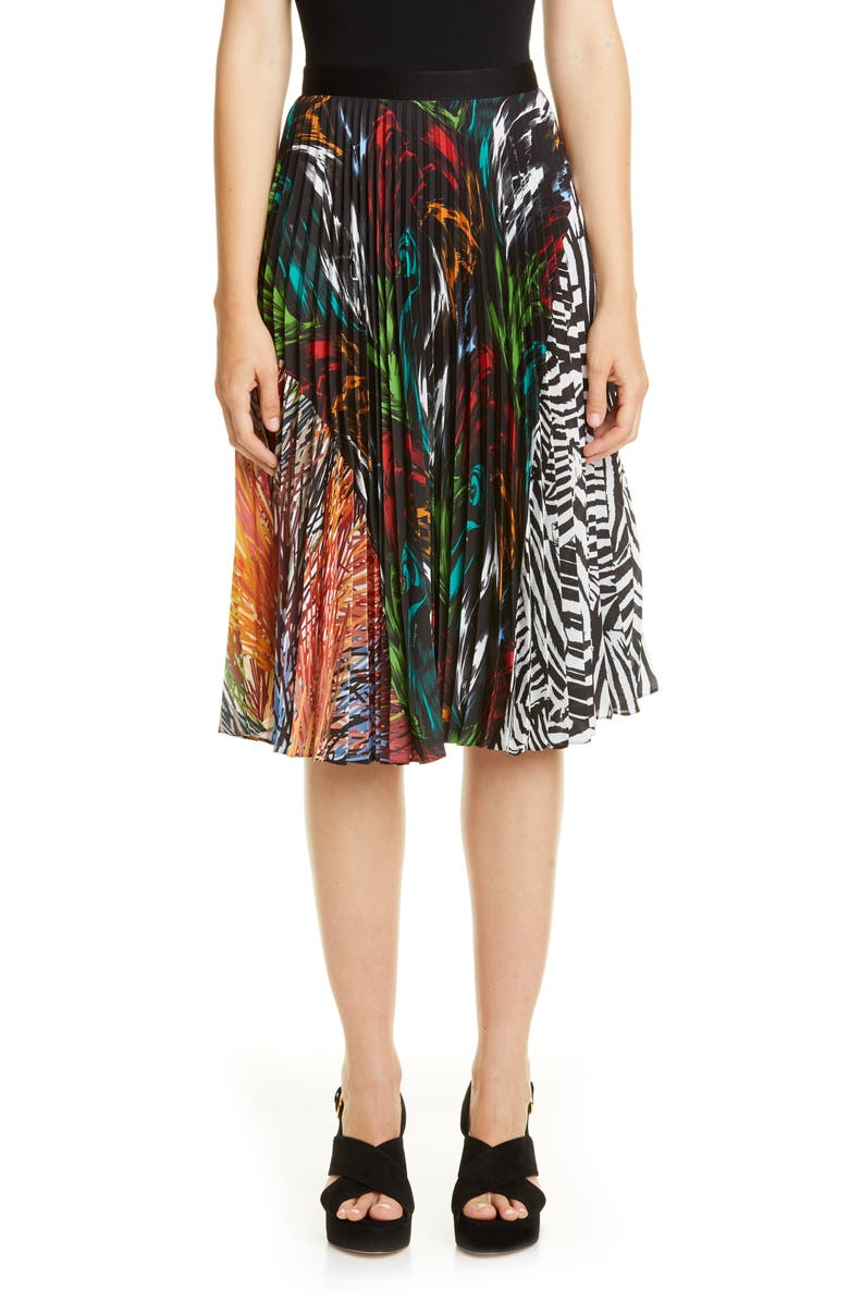MISSONI Mixed Prints Pleated Skirt, Main, color, 001
