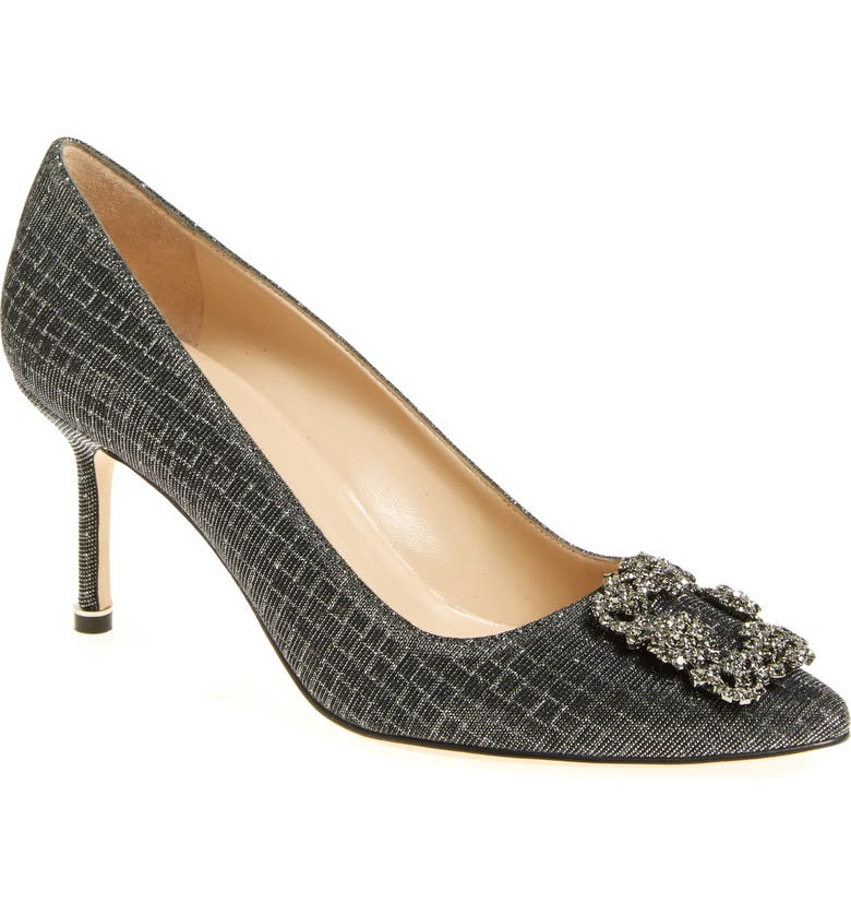 MANOLO BLAHNIK Hangisi Pointed Toe Pump, Main, color, BLACK FABRIC