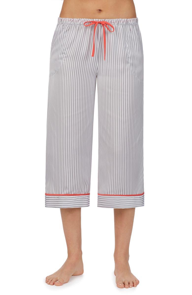 ROOM SERVICE Wide Leg Crop Pajama Pants, Main, color, GREY/ CAMEO STRIPE
