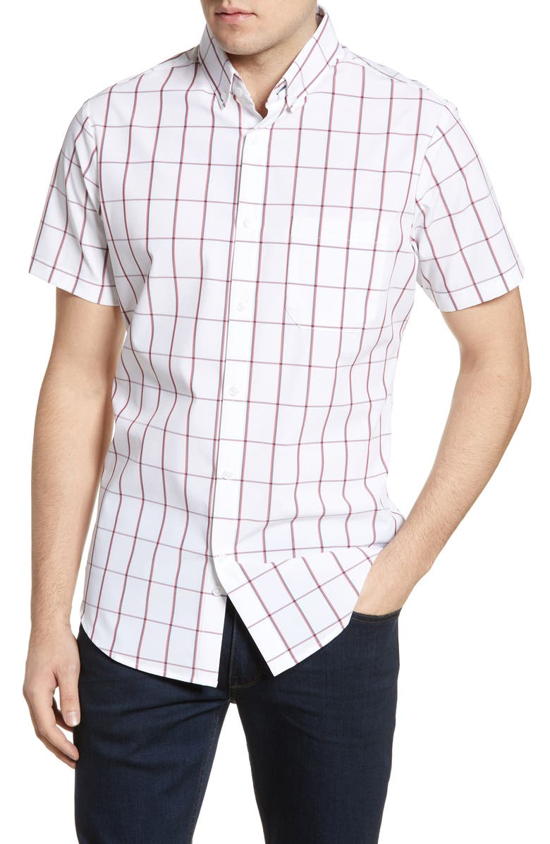 MIZZEN+MAIN South Point Trim Fit Check Short Sleeve Button-Down Performance Shirt, Main, color, WHITE