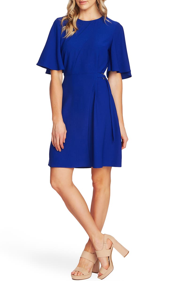 VINCE CAMUTO Flutter Sleeve Fit & Flare Dress, Main, color, ELECTRIC BLUE