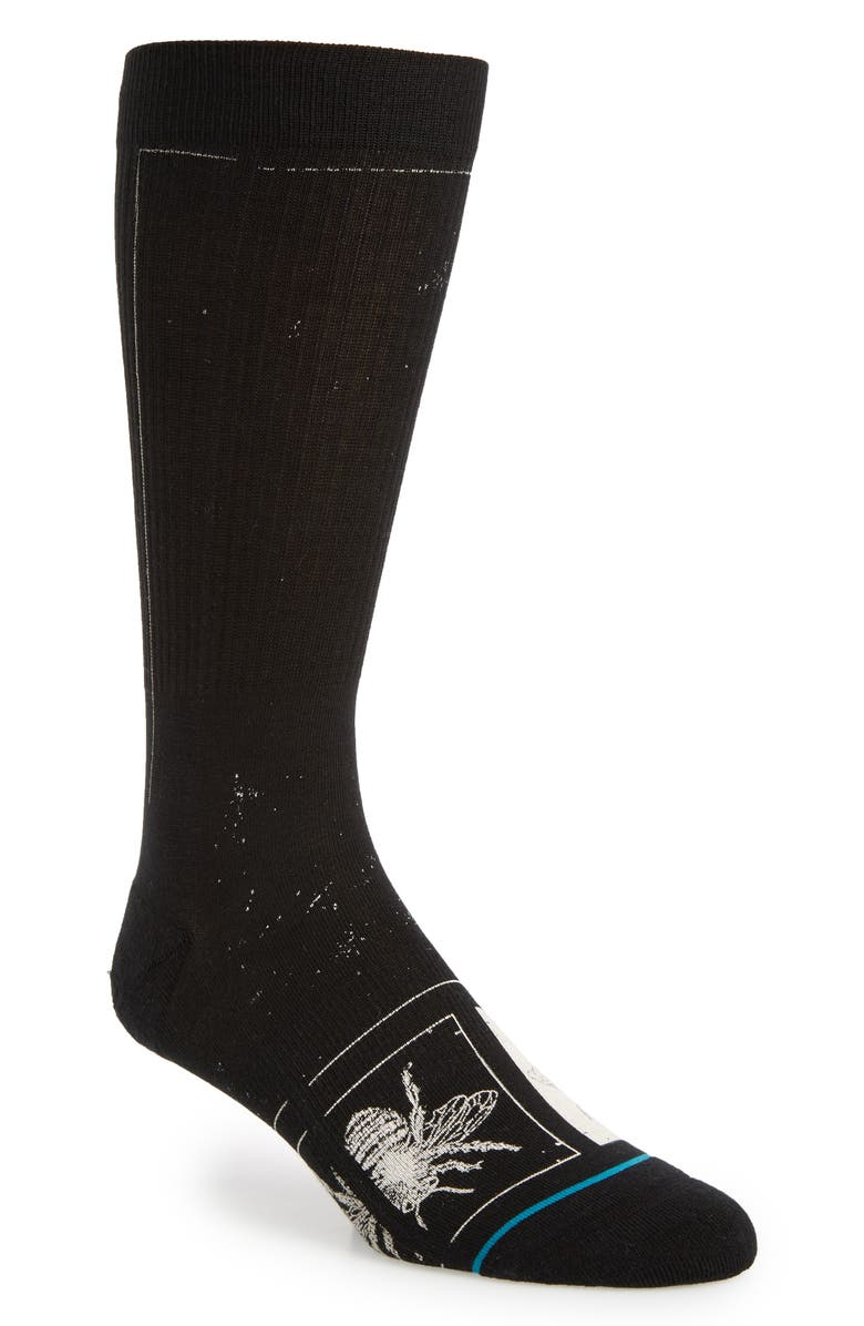 STANCE Buzzy Crew Socks, Main, color, BLACK