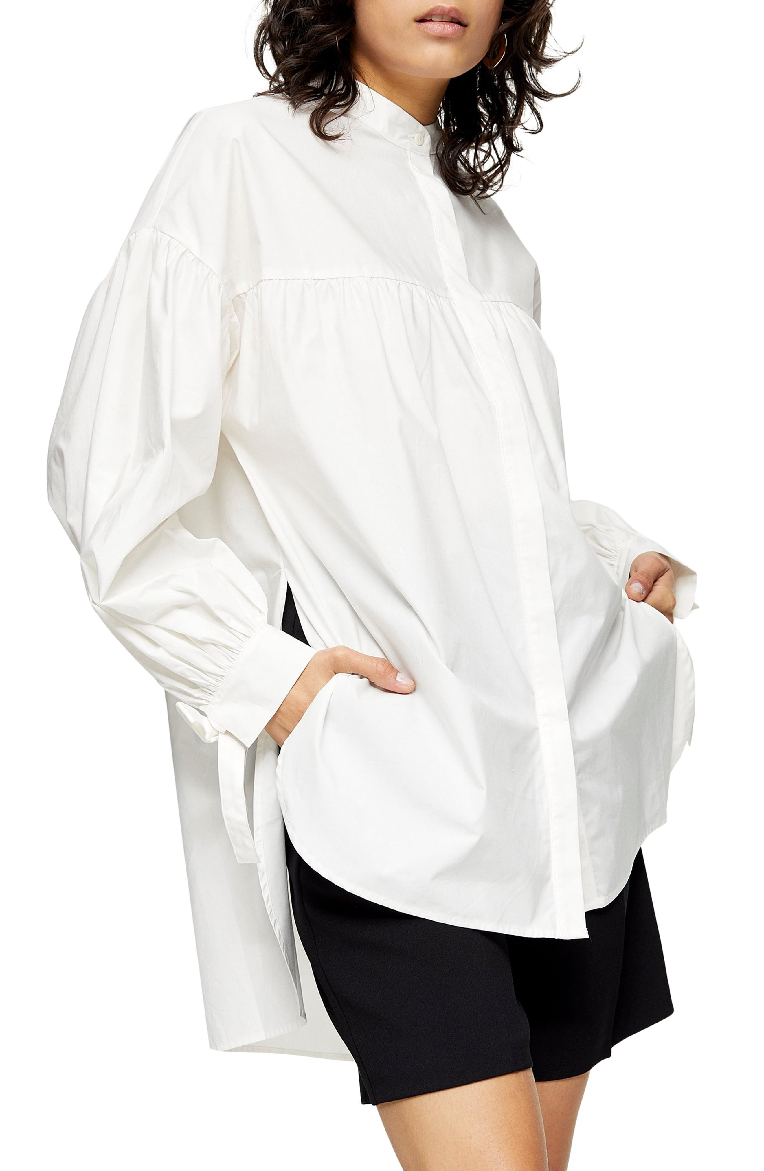 Victorian Blouses, Tops, Shirts, Sweaters Womens Topshop Oversize Babydoll Blouse $58.00 AT vintagedancer.com