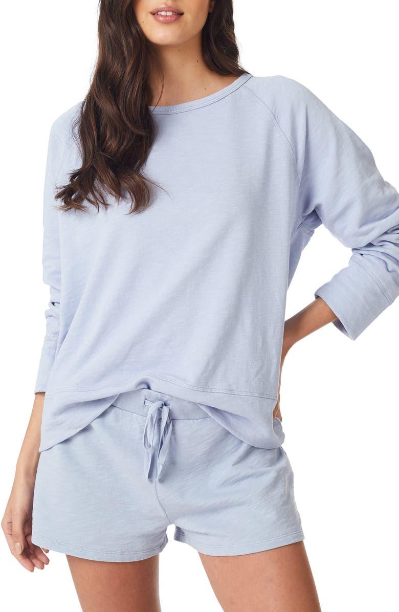 THE WHITE COMPANY Loopback Cotton Sweatshirt, Main, color, HEATHER BLUE