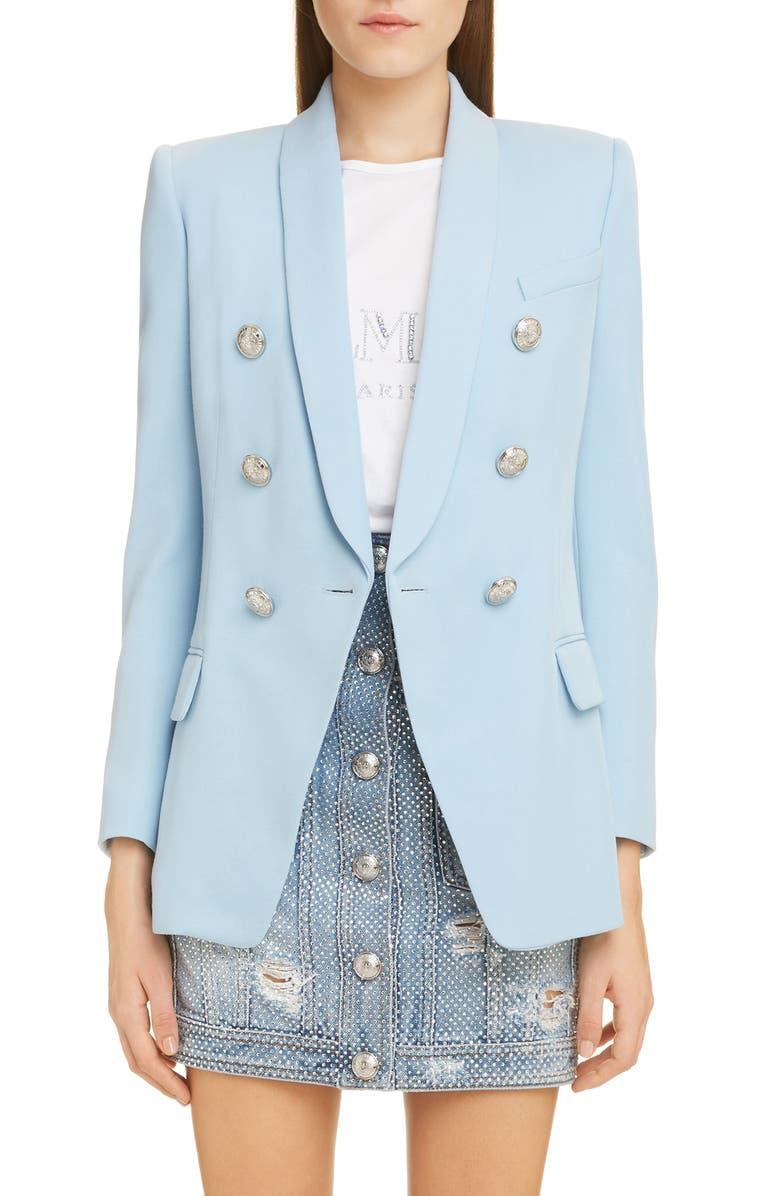BALMAIN Double Breasted Jacket, Main, color, BLEU ARDOISE