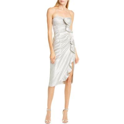 Jonathan Simkhai Ruffle Plisse Lame Cocktail Dress, Metallic