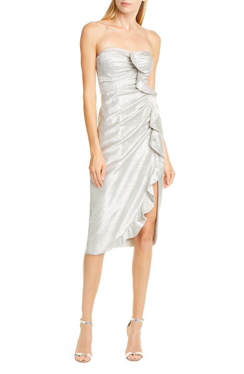JONATHAN SIMKHAI Ruffle Plissé Lamé Cocktail Dress, Main, color, COOL SILVER