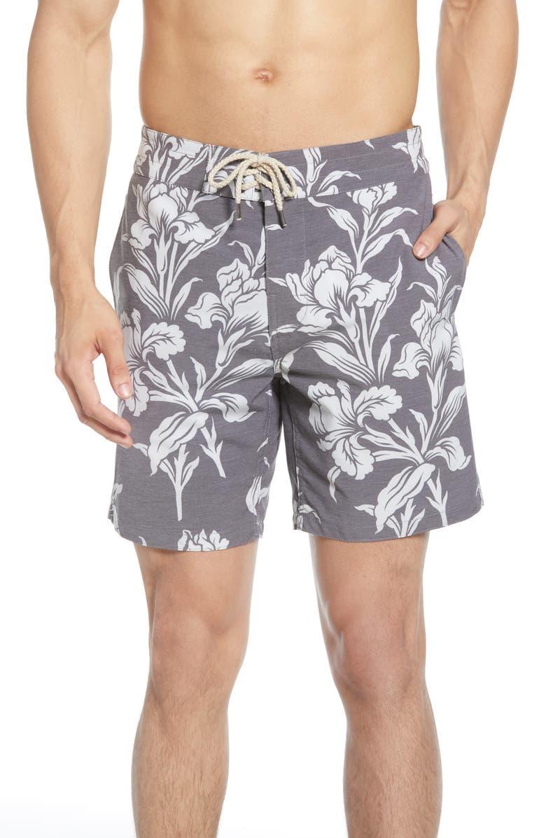 FAHERTY Beacon Floral Swim Trunks, Main, color, BLACK FLORAL
