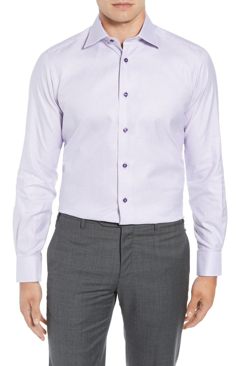 DAVID DONAHUE Regular Fit Check Dress Shirt, Main, color, LILAC