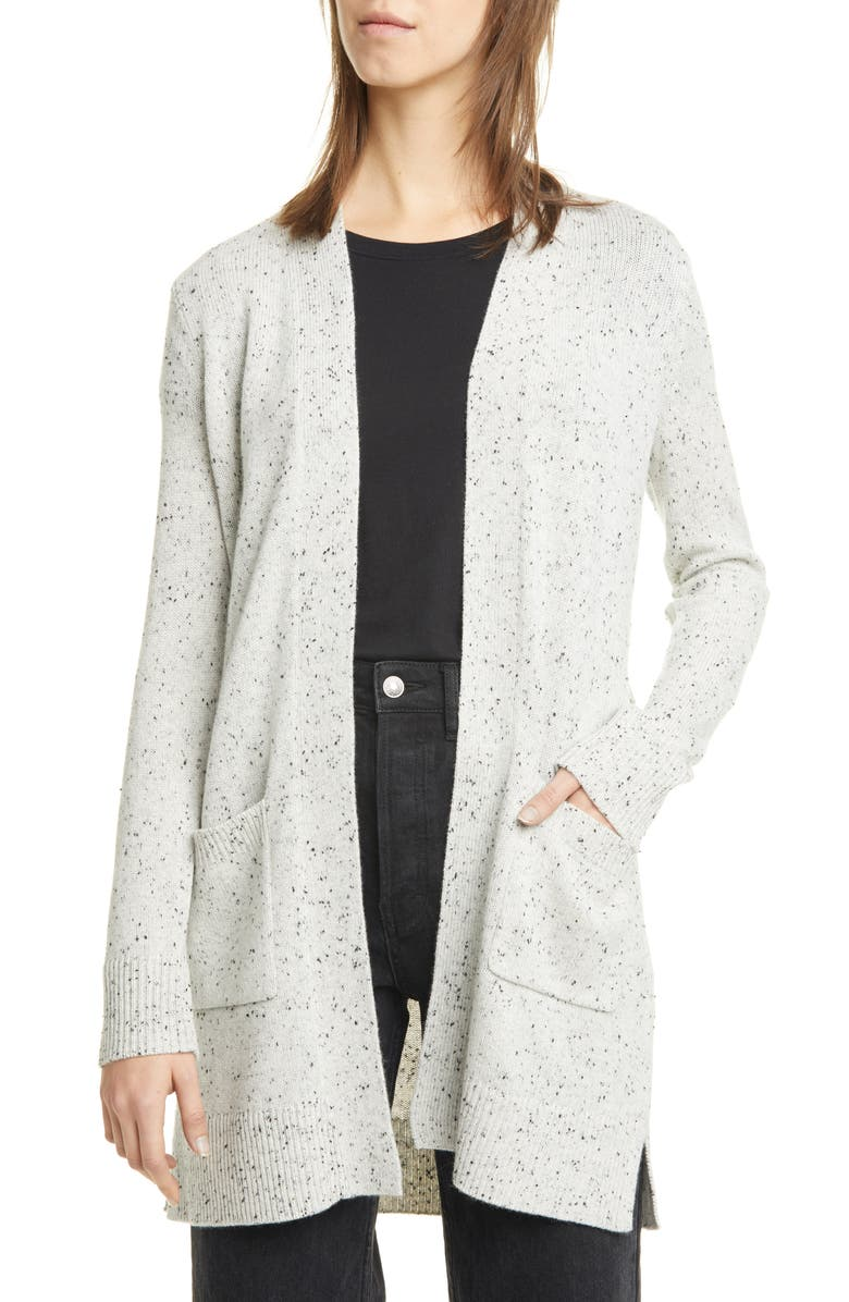 THEORY Donegal Open Front Cashmere Cardigan, Main, color, LIGHT HEATHER MULTI