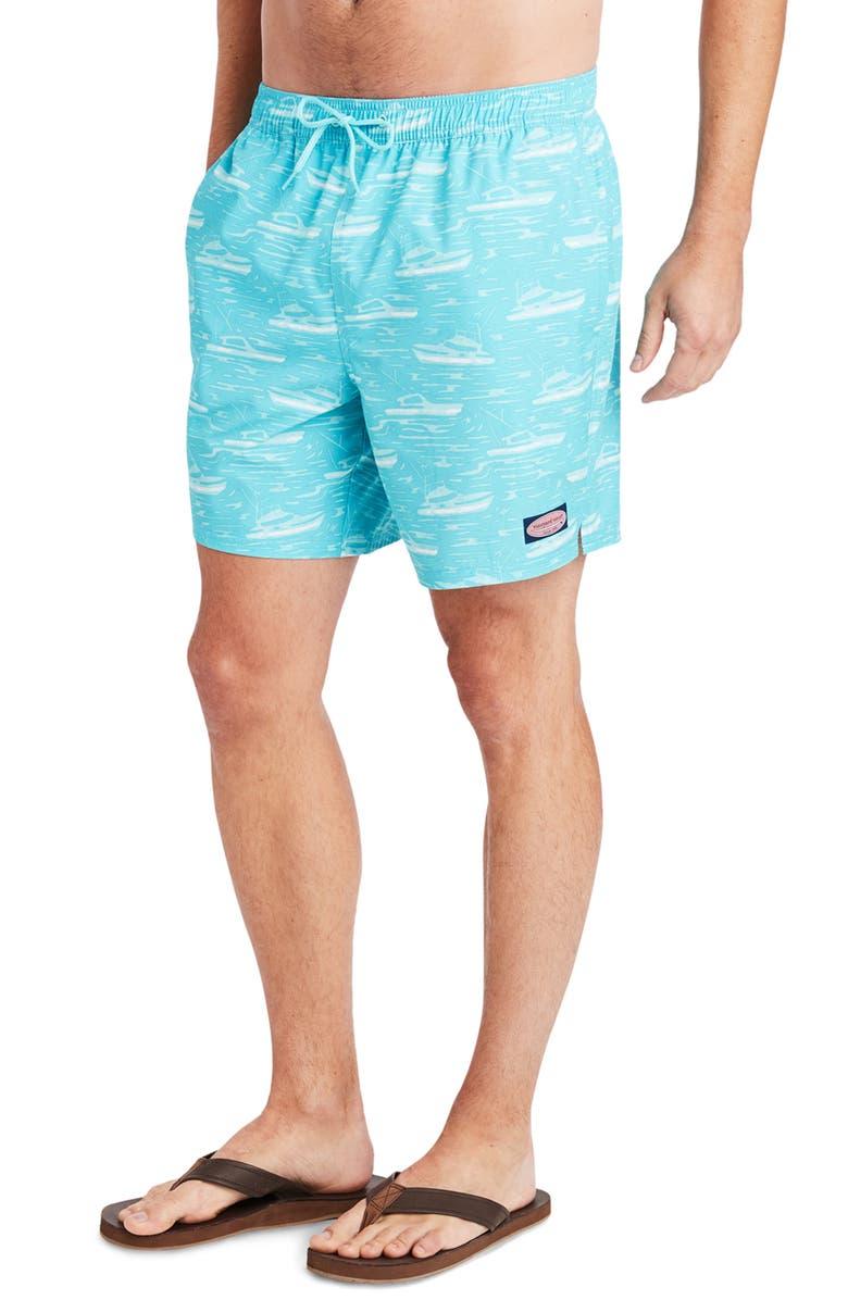 VINEYARD VINES Summer Sailing Chappy Swim Trunks, Main, color, FLATS BLUE