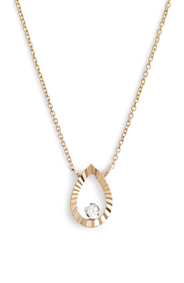 DANA REBECCA DESIGNS Mikaela Estelle Diamond Pear Pendant Necklace, Main, color, YELLOW GOLD