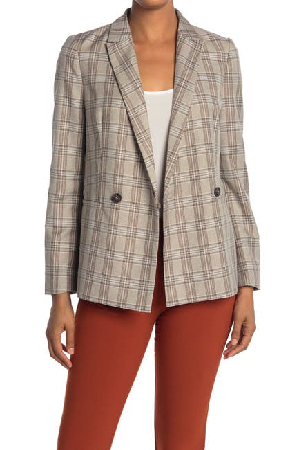 Image of SEE U SOON Plaid Double Breasted Blazer