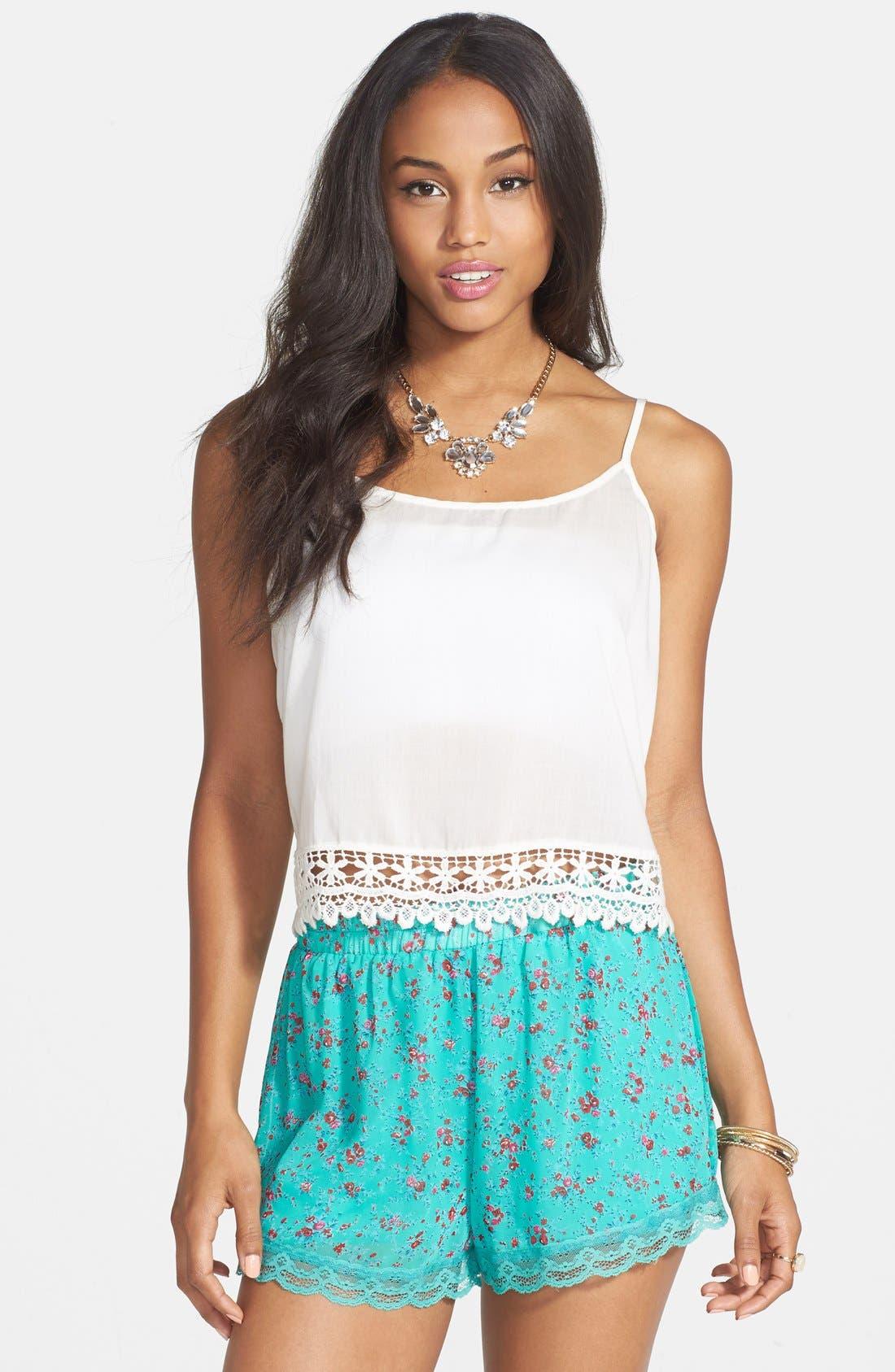 ,                             Lace Trim Floral Print Shorts,                             Main thumbnail 10, color,                             300