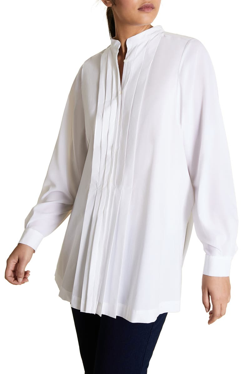 MARINA RINALDI Fauve Pleated Shirt, Main, color, WHITE