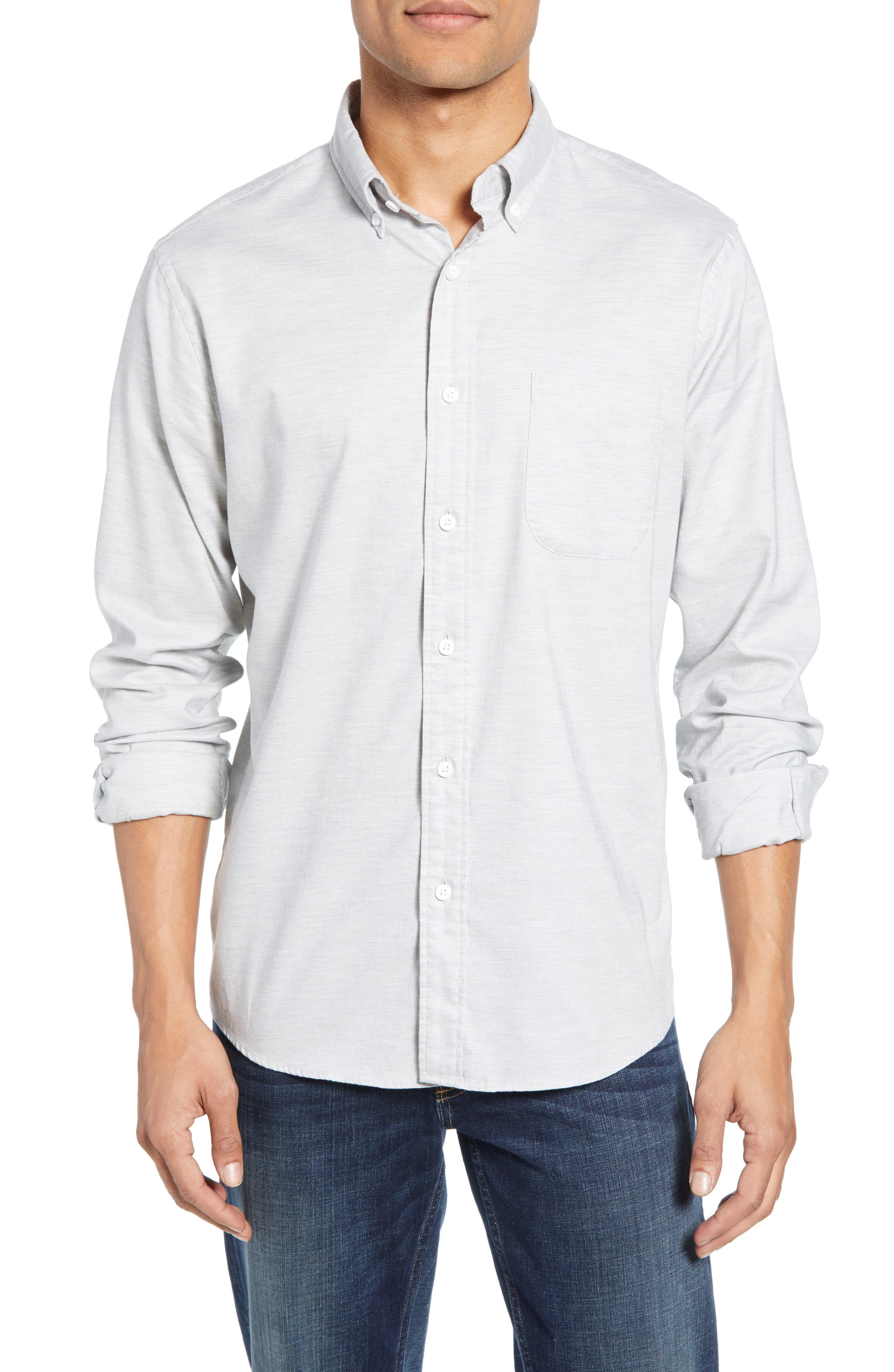 Faherty Regular Fit Stretch Oxford Sport Shirt, Grey