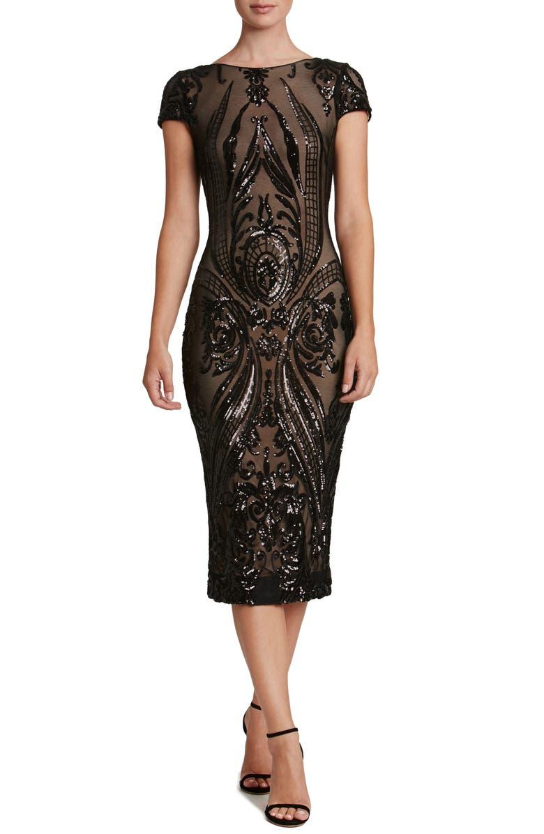 DRESS THE POPULATION Brandi Sequin Body-Con Dress, Main, color, 002
