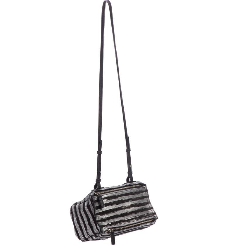 GIVENCHY Mini Pandora Metallic Stripe Leather Shoulder Bag, Main, color, SILVER/ BLACK