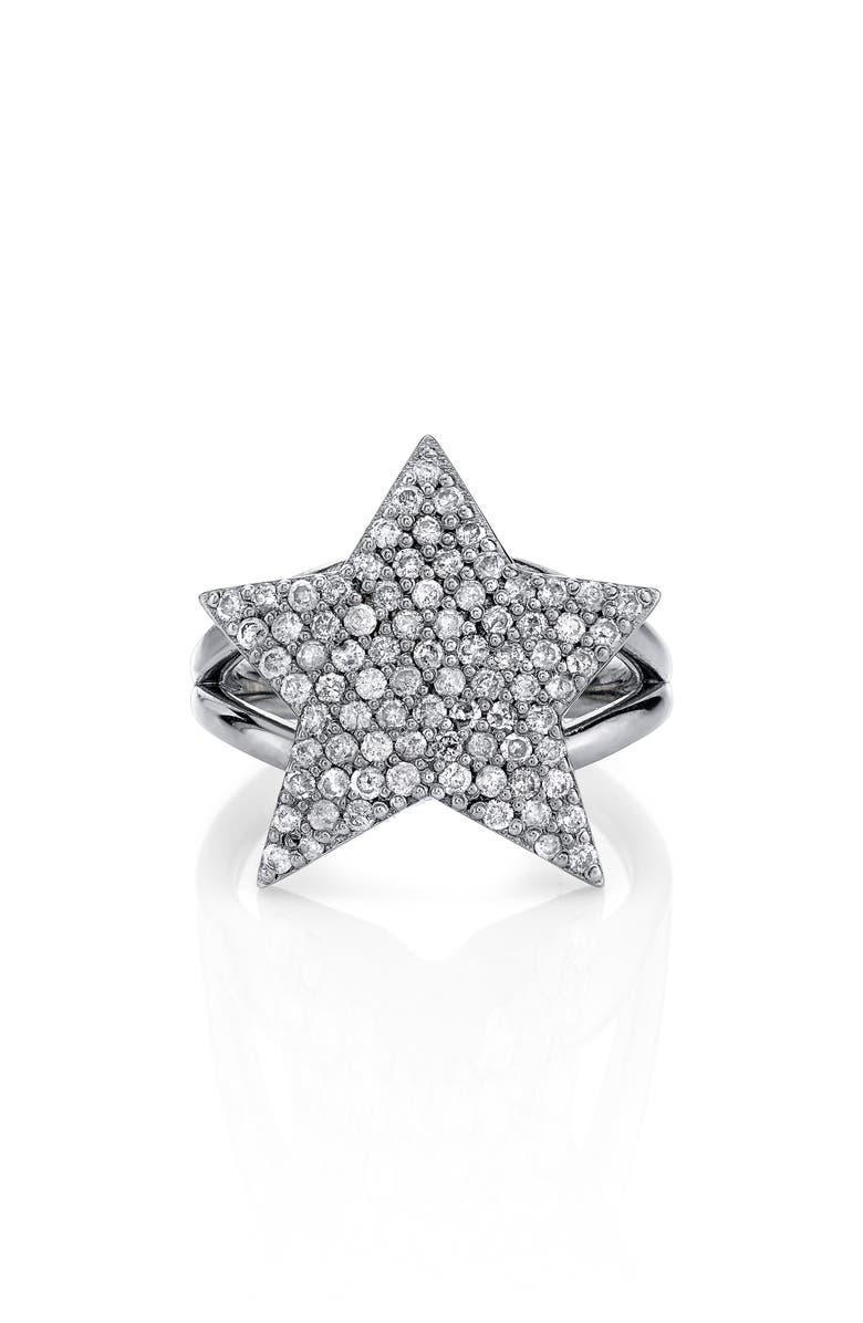 SHERYL LOWE Pavé Diamond Star Ring, Main, color, STERLING SILVER