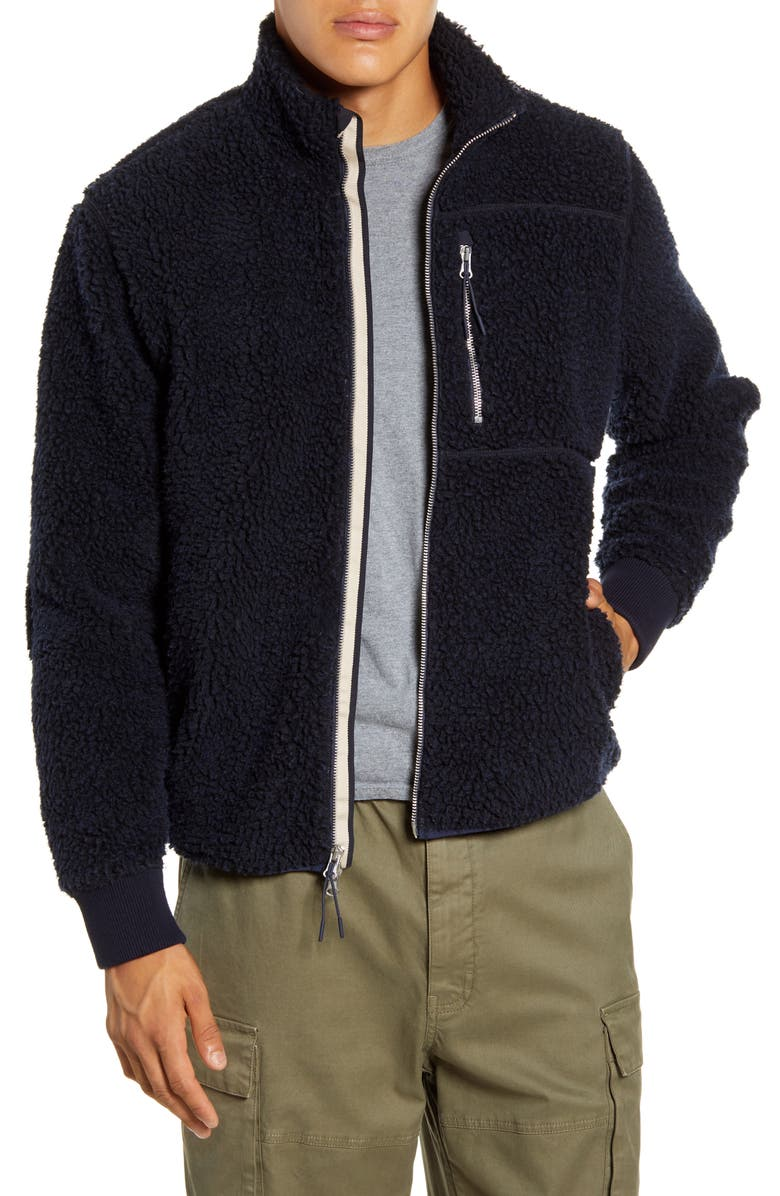 ALEX MILL Regular Fit Fleece Jacket, Main, color, DARK NAVY