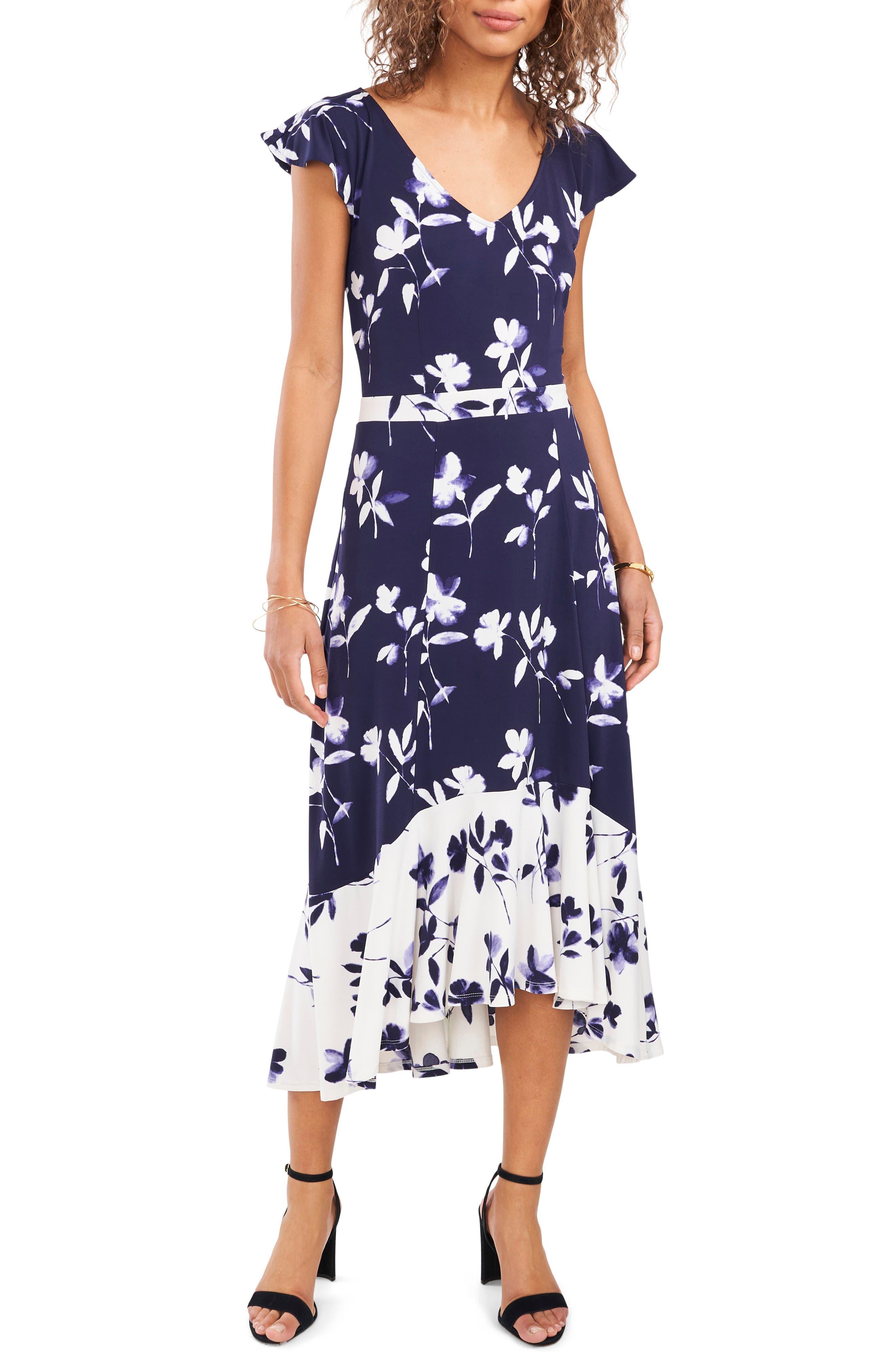 Floral Sharkbite Hem Dress