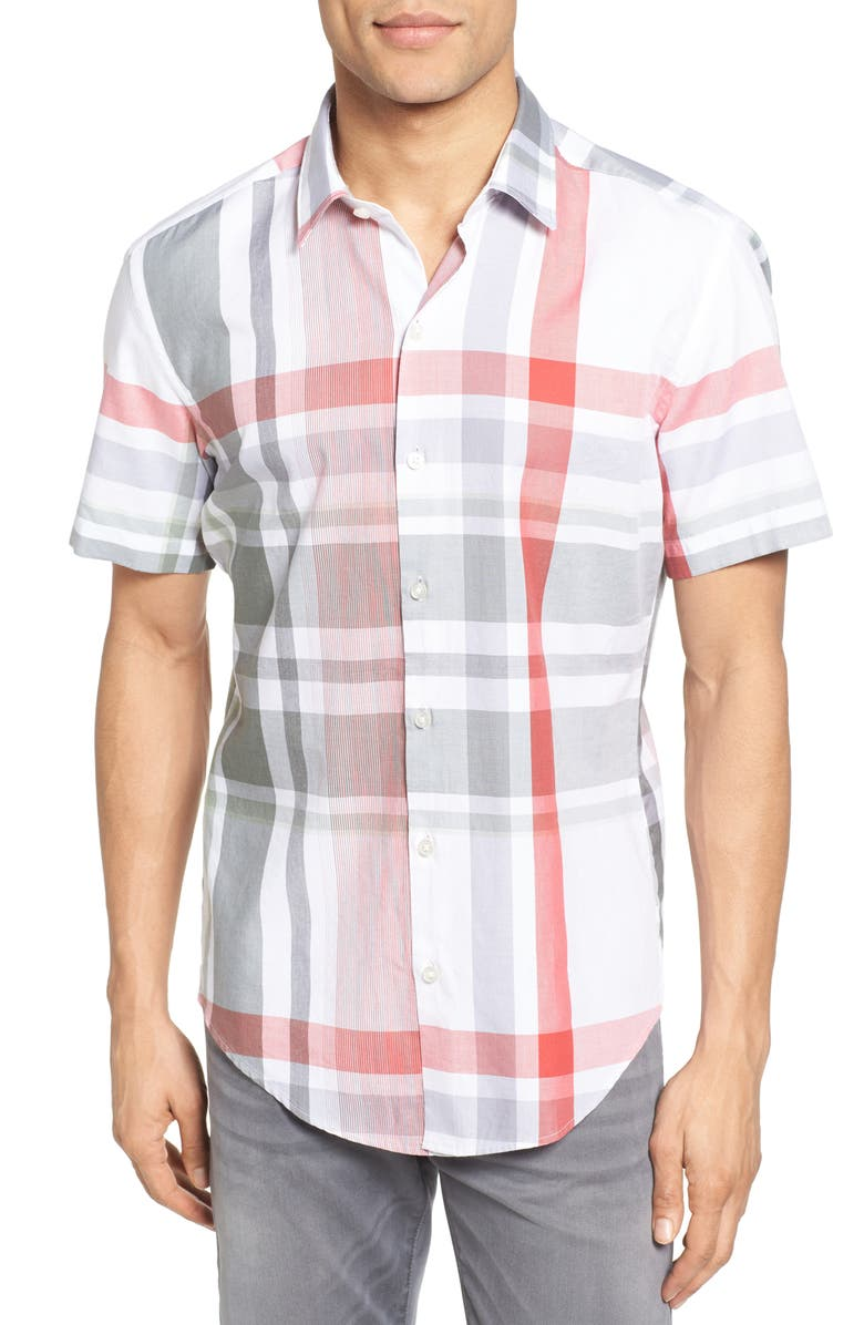 BOSS Robb Sharp Fit Plaid Sport Shirt, Main, color, 602