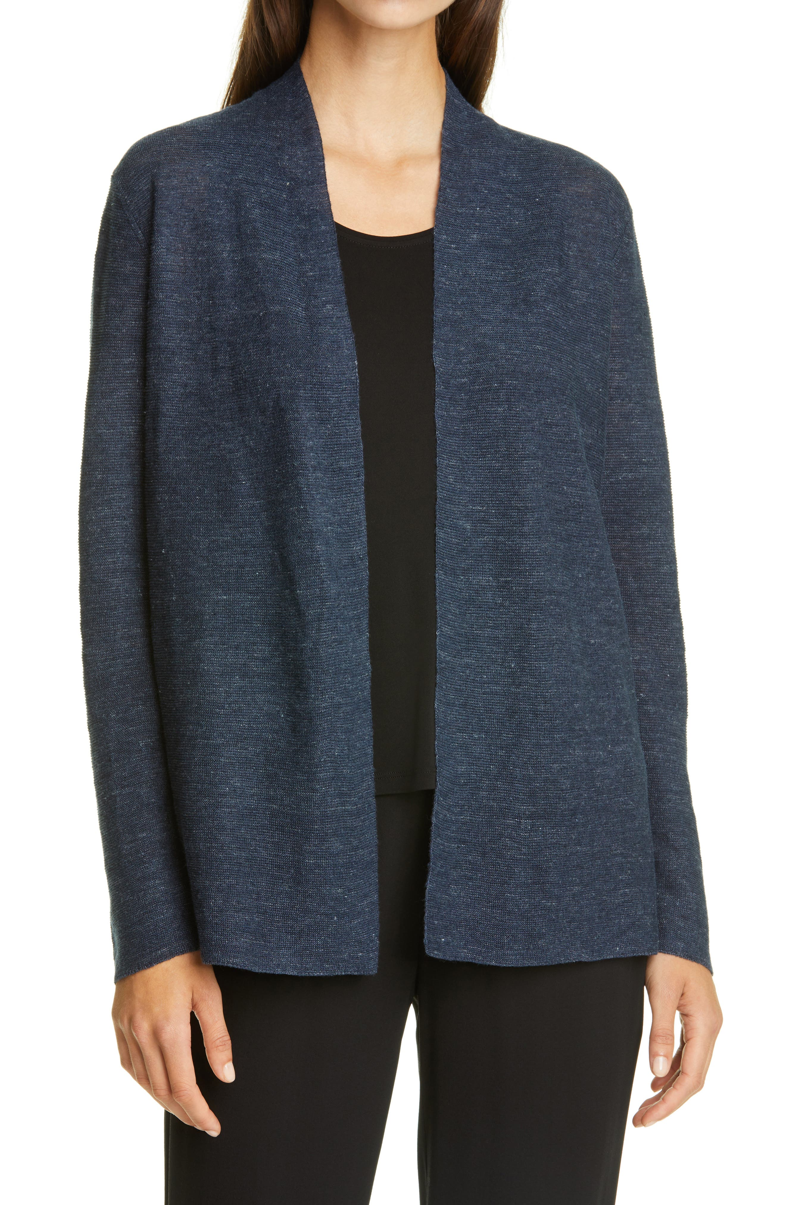 Image of Eileen Fisher Open Front Organic Cotton Cardigan