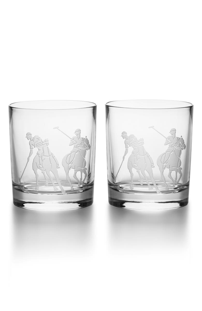 RALPH LAUREN Garrett Set of 2 Lead Crystal Double Old Fashioned Glasses, Main, color, CLEAR