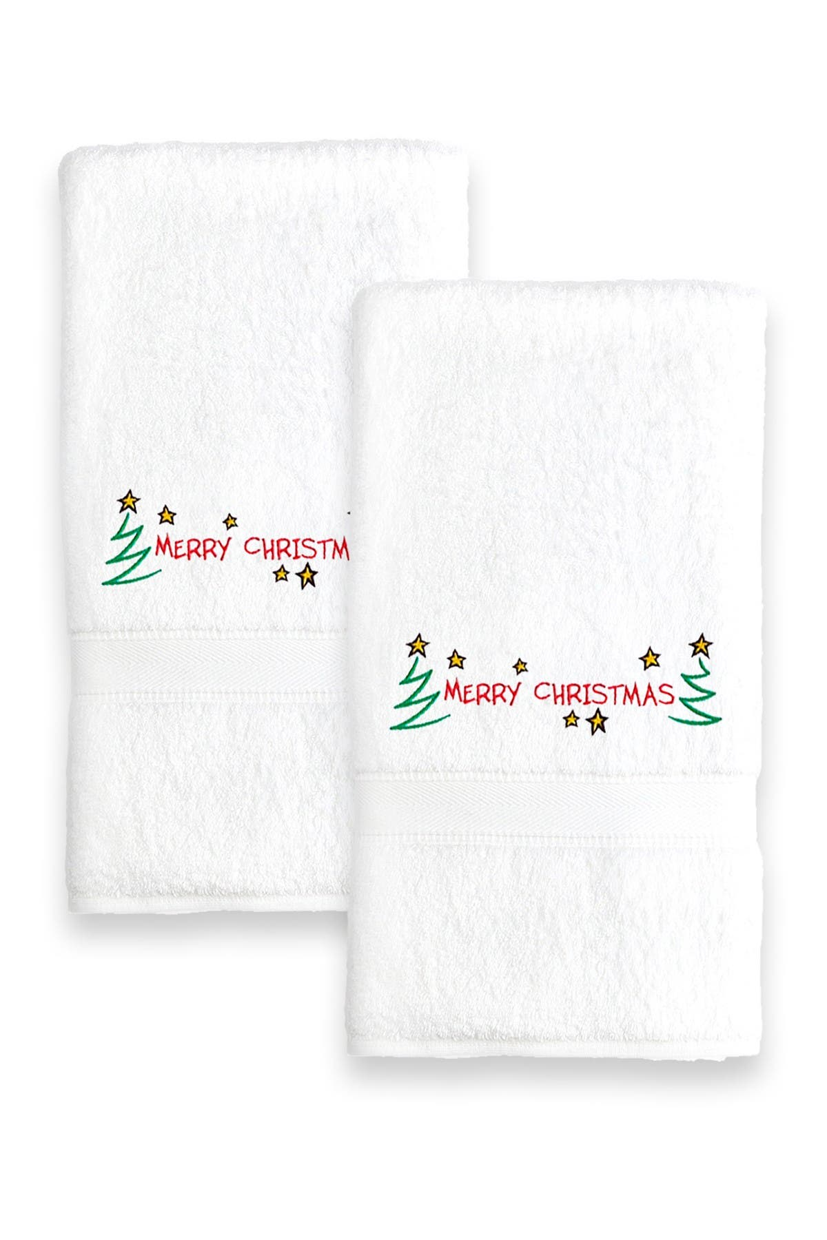 Image of LINUM HOME Merry Christmas Embroidered Hand Towels - Set of 2