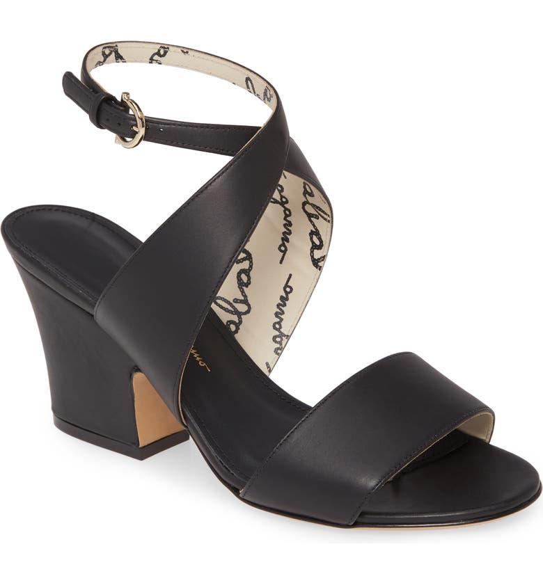 SALVATORE FERRAGAMO Sheena Cross Strap Sandal, Main, color, BLACK
